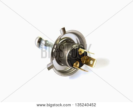 Incandescent lamp of car isolated on white background