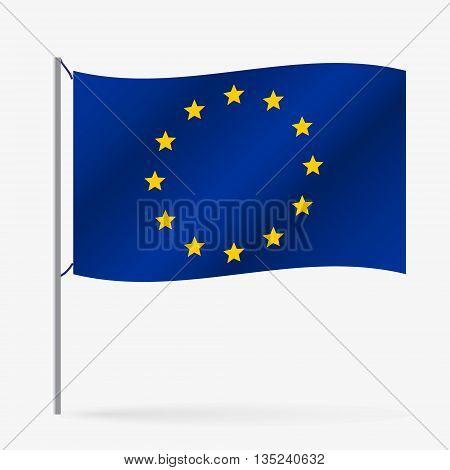 Color European Union Flag Waving Style Eps10