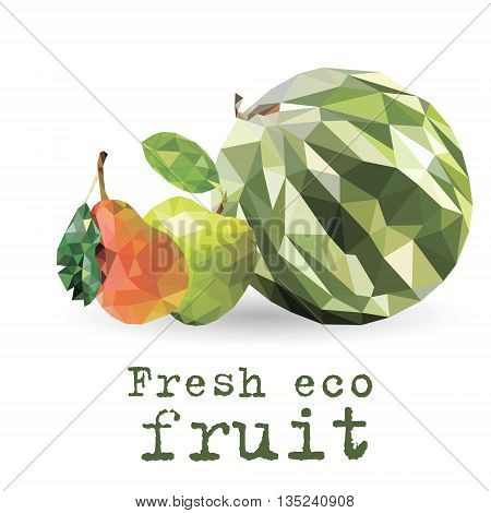 Set of three fructs Set of three fruits of the triangles in the form of a still-life of fresh fruit eco