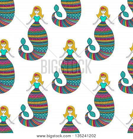 Cute mermaid. Vector seamless pattern with hand drawn doodle mermaid. Cute background for children. Bright color - pink yellow green on white background.