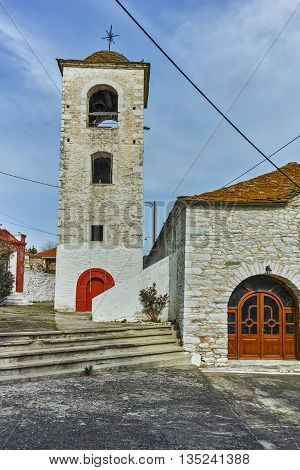 Orthodox church with stone roof in village of Theologos, Thassos island, East Macedonia and Thrace, Greece