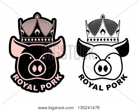 Royal Pork Emblem. Pig In Crown. Logo For Farming And Meat Production. Excellent Quality And Taste O