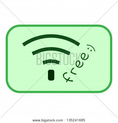 Free wi-fi sign. Wi-fi symbol. Wireless Network icon. Free wi-fi icon. Wi-fi zone green vector emblem. Color free wi-fi public information sign isolated on green background. Stock vector illustration
