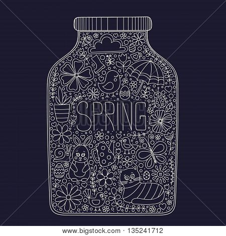 Spring jar. Vector bank with doodle spring elements - bunny cat flower bird chicken sun cloud umbrella butterfly rubber boots easter egg watering can snail ladybug. Outline. Spring card.