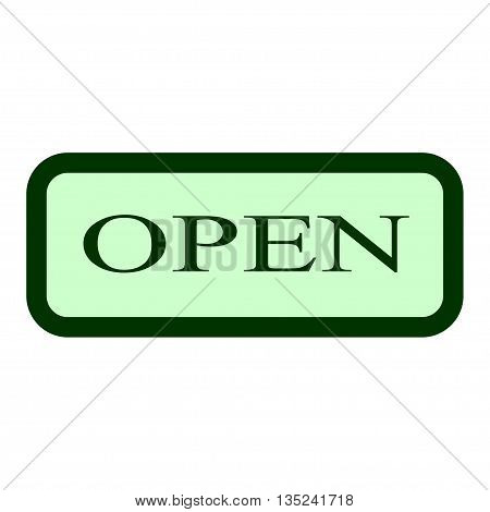 Open sign. Vector open door sign. Color sign with information welcoming shop visitors. Green open sign icon on white background. Flat design. Label with text in flat style. Stock vector illustration