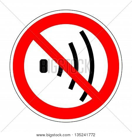 No voice sign. No talking sign isolated on white background. Speaker symbol. Vector volume off icon. Prohibition Sign. Flat design vector illustration. Mute no sound icon. Stock vector illustration