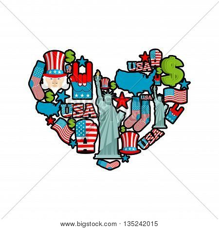 Usa Love. Sign Heart Of United States Traditional Folk Characters. Map And Flag Of America. Statue O