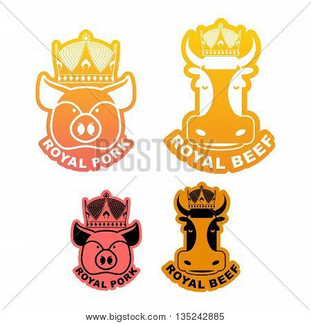 Royal Pork And Beef Logo. Cow In Crown. Pig In Diadem. Excellent Quality Meat. Logo For Farming And