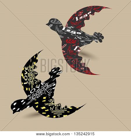 A pair of doves vector illustration llustration of two doves with logo, letters and words, the pattern and the pattern on the wings of birds vector drawing