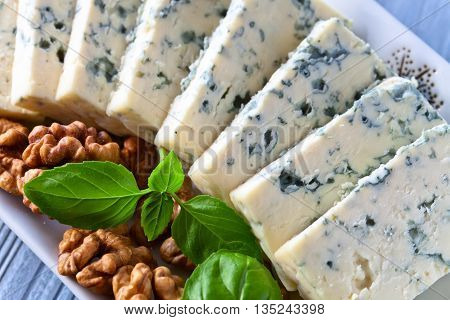 Gorgonzola Cheese With Basil And Walnuts