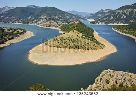 Amazing landscape of Arda River meander and Kardzhali Reservoir, Bulgaria