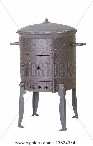 traditional Asian stove for cauldron isolated on white background