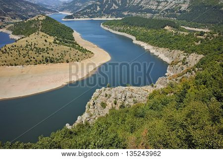 Panorama of Arda River meander and Kardzhali Reservoir, Bulgaria