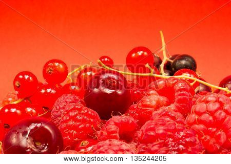 Red Fruits On Red Background