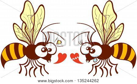 Cute couple of bees flying, staring at each other and expressing their different points of view about love by showing a healthy heart and a broken one