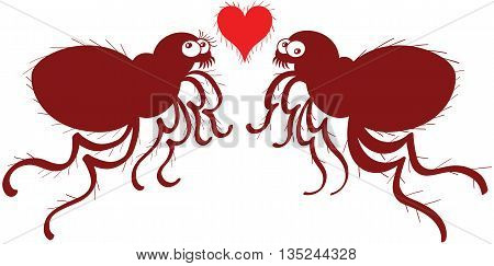 Funny couple of ugly fleas jumping, posing in front of each other while trying to look not concerned and showing a hairy red heart between them