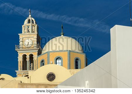 Amazing view of orthodox church in town of Firostefani, Santorini island, Thira, Cyclades, Greece