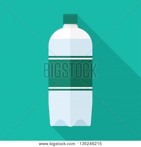 Flat Style Icon with Long Shadow. A bottle of water.