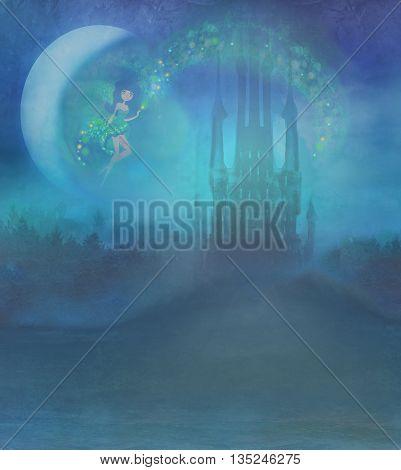 Magic Fairy Tale Princess Castle at night , raster