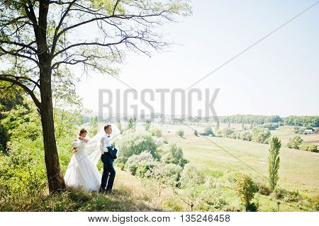 Wedding Couple At Forest Background Panorama
