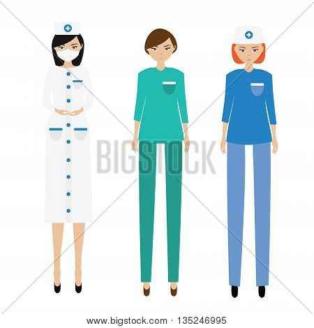 Medical women team. Nurse paramedic doctor. Hospital clinic stuff women characters in uniform vector illustration