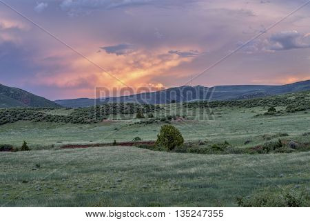 dusk over Colorado foothills  - Red Mountain Open Space near Fort Collins - early summer scenery