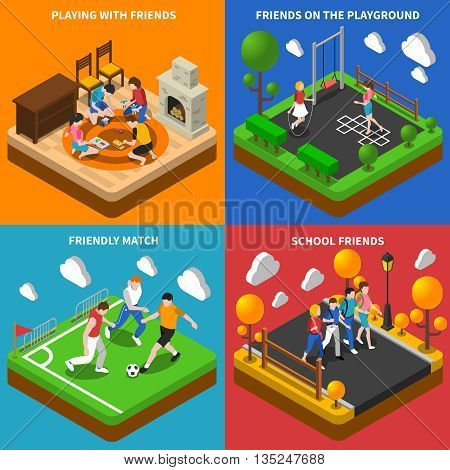 School friends playing at home and on playground 4 isometric icon square poster abstract isolated vector illustration