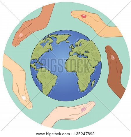 Conceptual symbol of an Earth globe with multiracial human hands around it. Unity and world peace concept.
