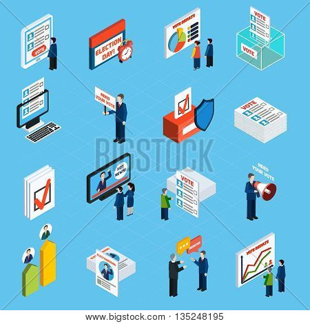 Election campaign and voting isometric icons set with ballot box voter list and people making agitation flat vector illustration