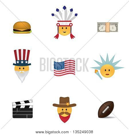 Set of usa emoticon vector isolated on white background. Emoji vector. Smile icon set. Emoticon icon web.