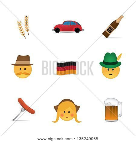Set of german emoticon vector isolated on white background. Emoji vector. Smile icon set. Emoticon icon web.