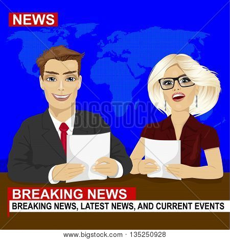 TV news anchors reporting breaking news sitting in a studio