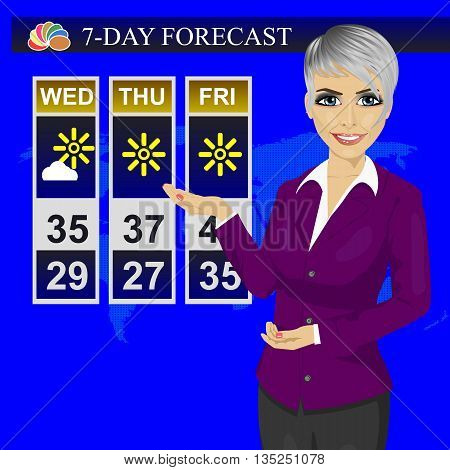 TV weather news reporter meteorologist anchorwoman reporting on the monitor screen
