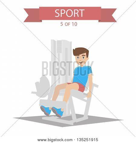 Athlete swings the legs on the simulator