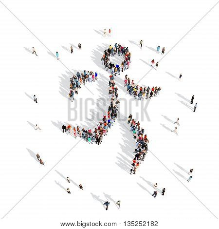Large and creative group of people gathered together in the shape of a man, running, competition, sport. 3D illustration, isolated against a white background.