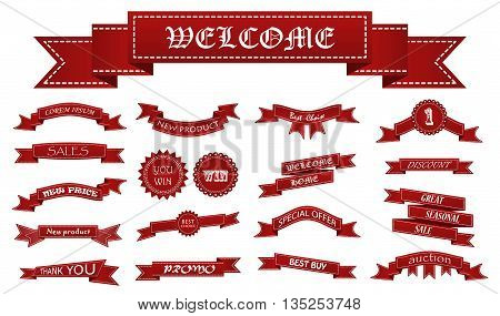 Embroidered Red Ribbons And Stumps With Business Text Isolated On White. Can Be Used For Banner, Awa