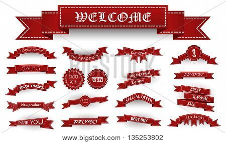 Embroidered Burgundy Vintage Ribbons And Stumps With Business Text And Shadows Isolated On White. Ca