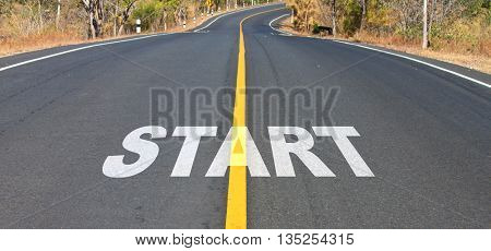 business concept of start sign on the road