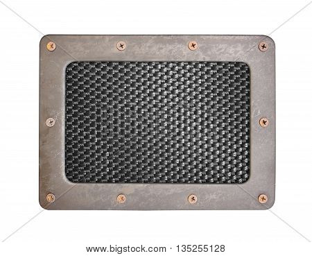 nylon background plate with metal frame and screws