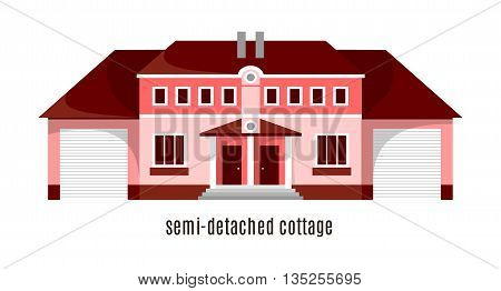 Flat house icon isolated on white background. Vector illustration for real estate design. Cute cartoon home sign. Two storey building. Architecture symbol. Residential cottage. Property village.