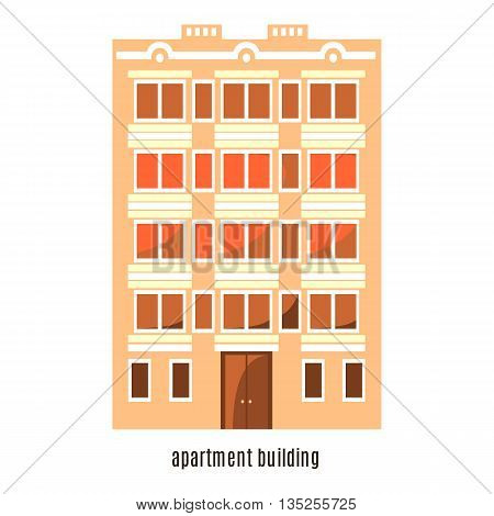Flat house icon isolated on white background. Vector illustration for real estate design. Cute cartoon home sign. Multi-storey building. Architecture symbol. Residential household. Property town.