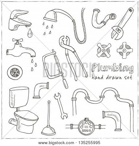 Plumbing hand drawn decorative icons set vector isolated illustration