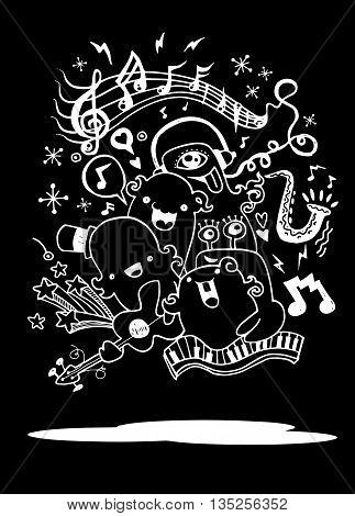 Monster Music Band Playing Music. Hand Drawn Style