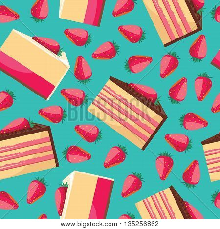 Seamless background with pattern of delicious strawberry cupcake with pink whipped cream. Delicious desserts. Fresh bakery. Can be used for wallpapers, posters, wrapping paper. Vector design