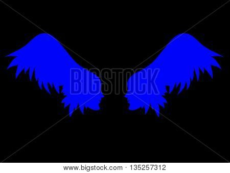 two girl's profile on on the wings - hair background vector linen illustration for banner card cover.