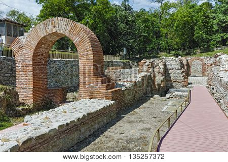 Ruins of Entrance and panorama of The ancient Thermal Baths of Diocletianopolis, town of Hisarya, Plovdiv Region, Bulgaria