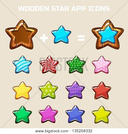 elements for making your own star icon constructor in vector