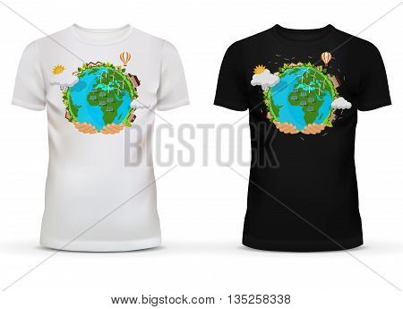 Casualwear unisex black and white t-shirt with short sleeve and u-neck collar for adult or teenager with picture or print of hands holding earth with wind turbines and solar stations.