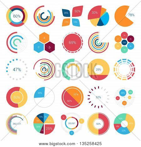 Infographics design elements with bar or circle, petal or leaf, pie or gauge charts and step diagram for statistic report or document. Visualization poster template for analytics layout of data