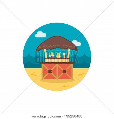 Cafe Bar bungalows on the beach vector icon. Beach. Summer. Summertime. Holiday. Vacation, eps 10